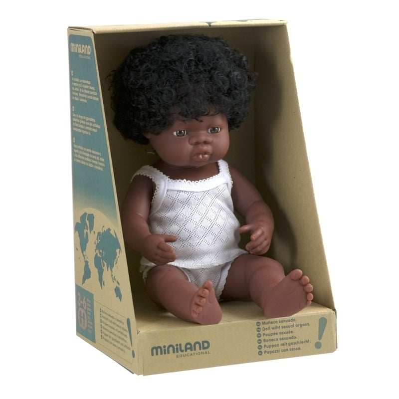 Anatomically correct baby, african girl, 38 cms - Miniland doll