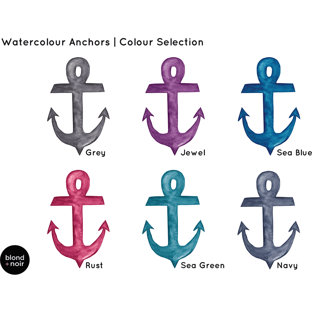 Anchors in watercolour - wall decals