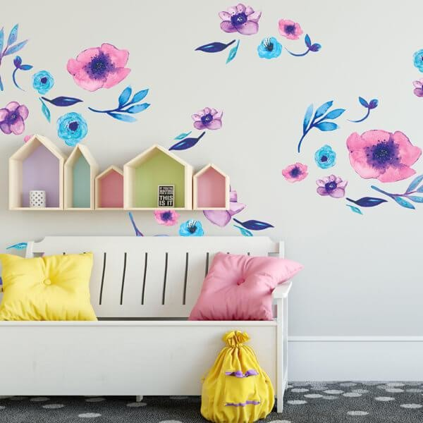 Aurora Florals full - wall decals