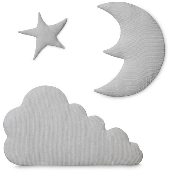 Cam cam Moon, star, cloud - wall decor, light grey
