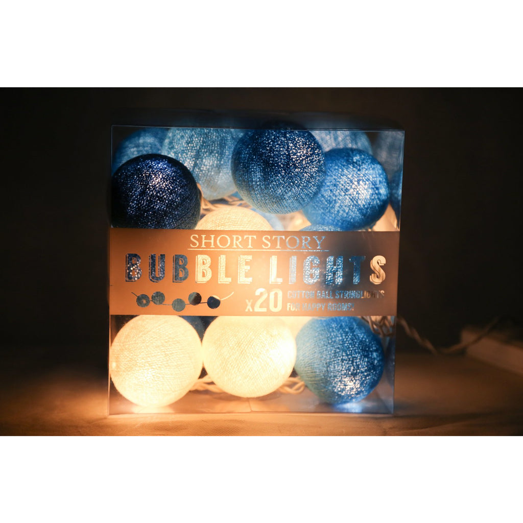 String lights - Cotton balls Blue