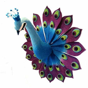 Felt Animal Head - Peacock