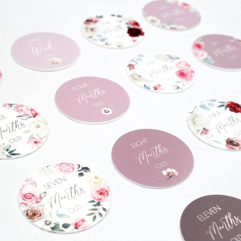 Dusty floral printed milestone cards - set of 14