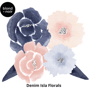 Isla Florals medium half - wall decals