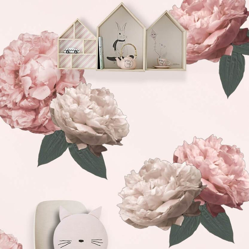 Peonies large half - wall decals