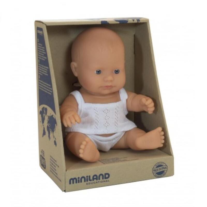 Anatomically correct baby, caucasian boy, 21 cms - Miniland doll