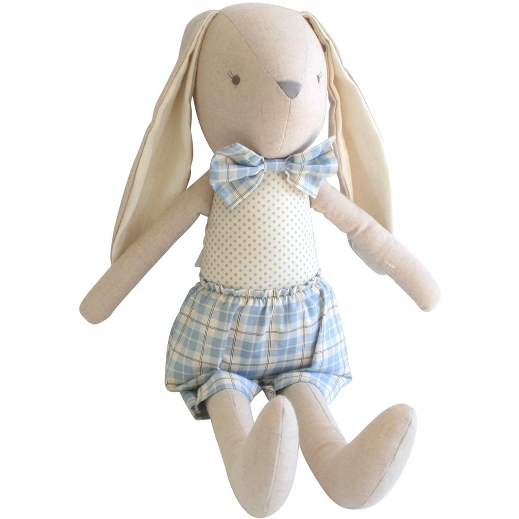 Louie - Linen cuddly bunny, blue