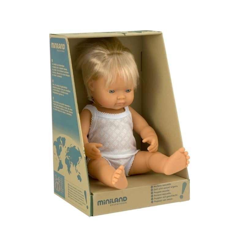 Anatomically correct baby, caucasian boy, 38 cms - Miniland doll
