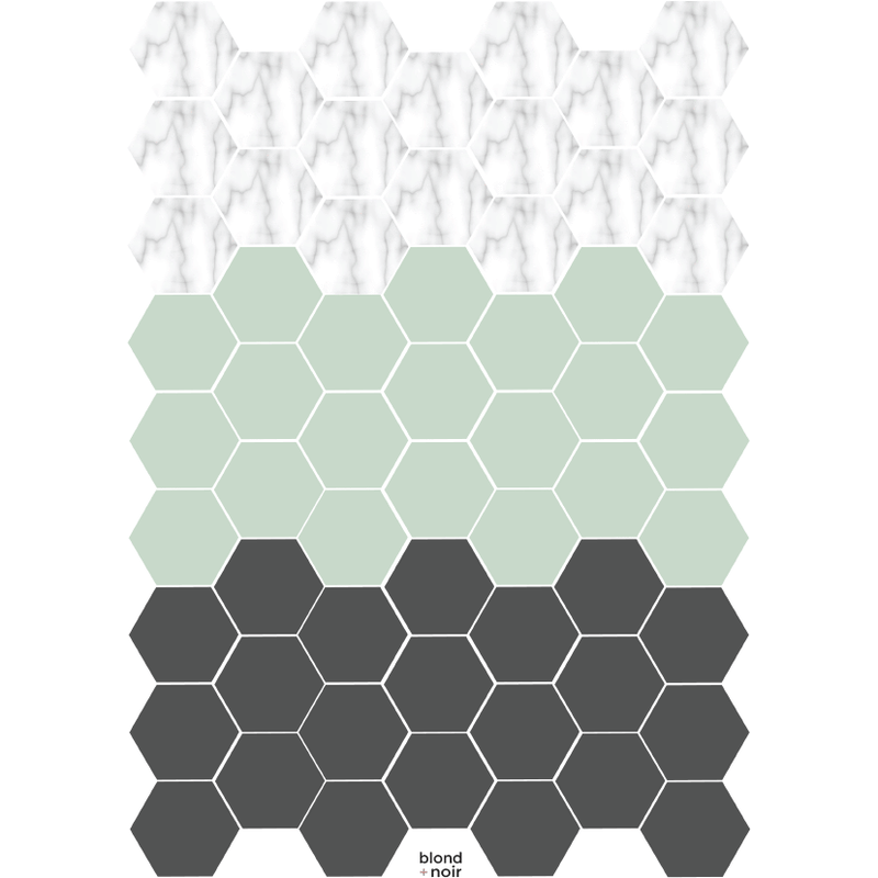 Same size Hexagons, medium - wall decals