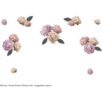 Peonies medium full - wall decals