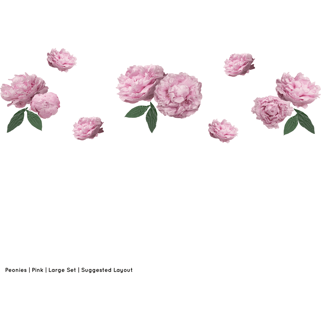 Peonies large full - wall decals