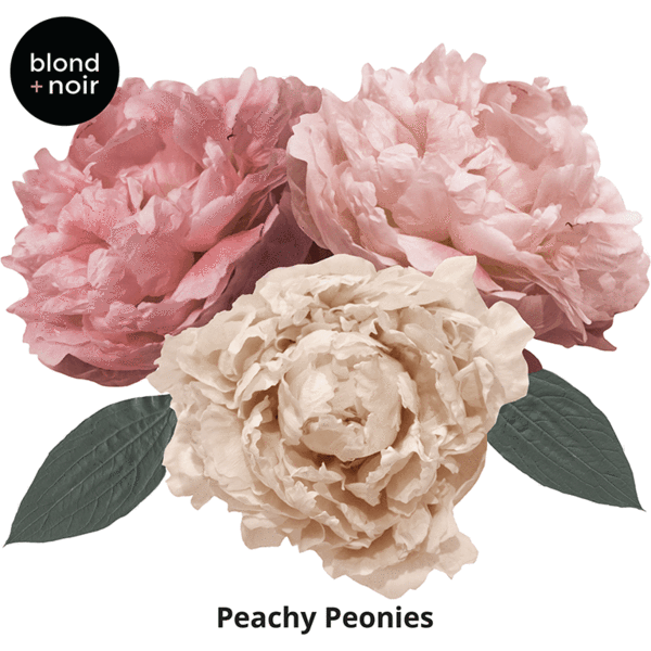 Peachy Peonies, medium half - wall decals IN STOCK