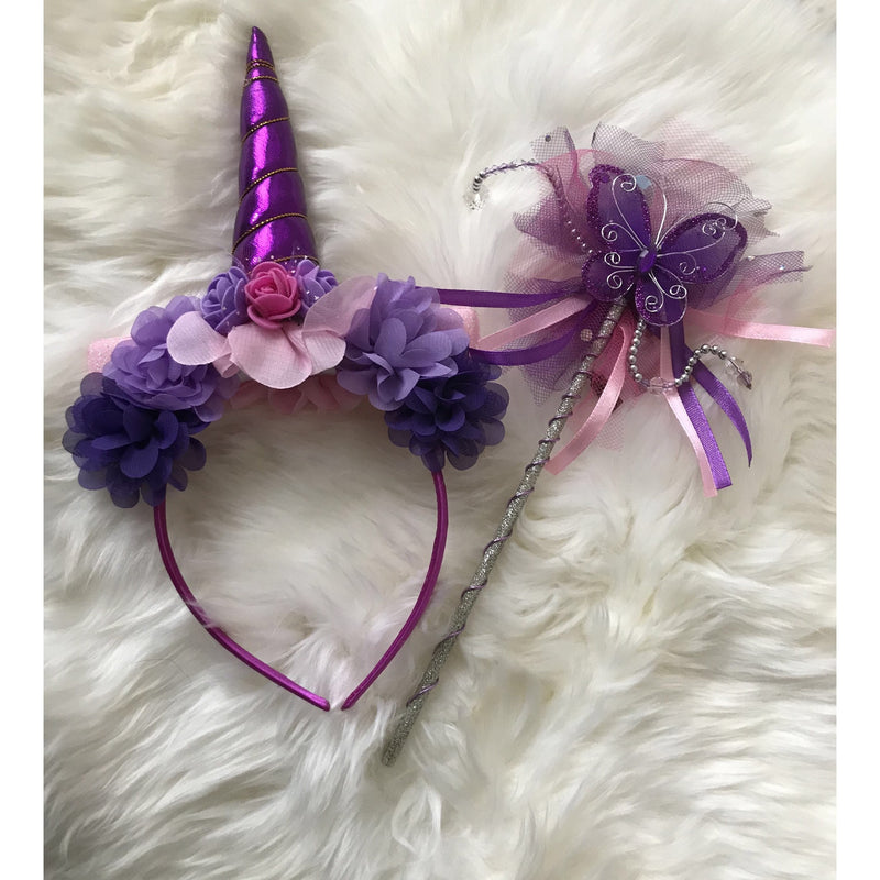 Unicorn Crown headband and butterfly wand set