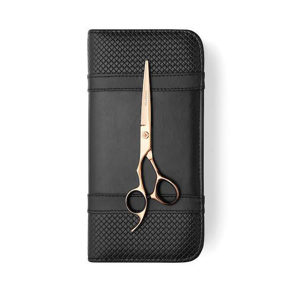 Lefty Rose Gold Hair Cutting Shears on case