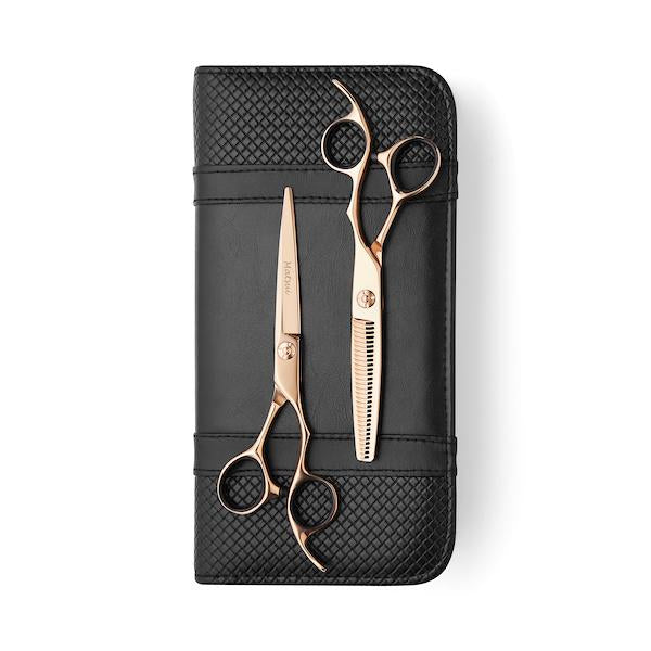 5.5 Inch Cutting Scissor Matsui Rose Gold Aichei Mountain Offset Shear Thinner Combo - Scissor Tech Canada