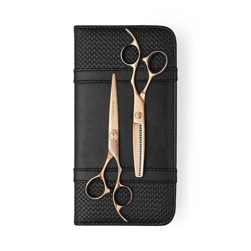 5.5 inch 2019 Rose Gold Matsui Damascus Offset Scissor Thinner Combo - Scissor Tech Canada