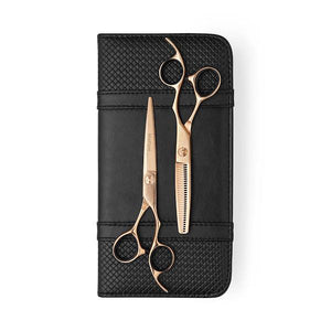 5.5 inch 2019 Rose Gold Damascus Offset Scissor Thinner Combo - Scissor Tech Canada