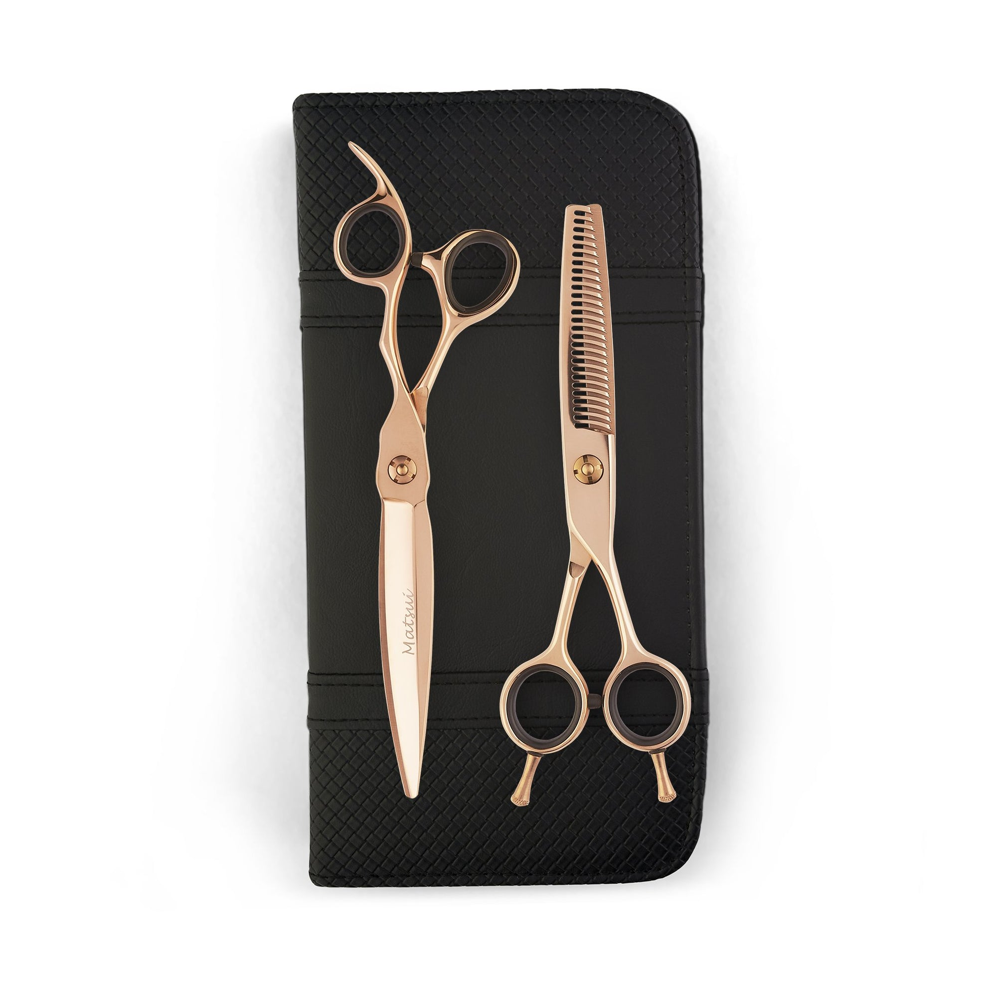 6 inch Matsui VG10 Sword Scissor Thinner Combo - Rose Gold - Scissor Tech Canada
