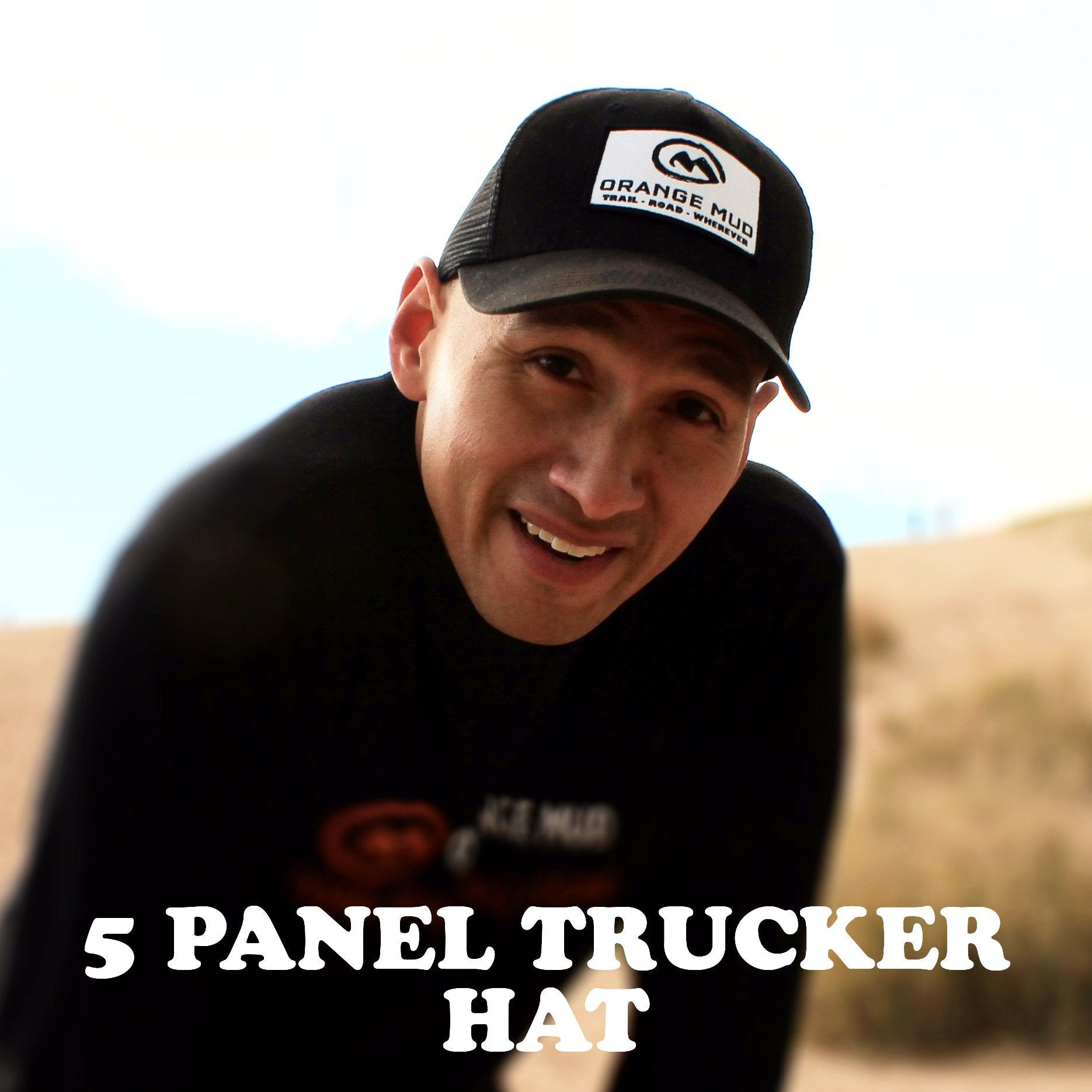 5 Panel Black Trucker Hat - Orange Mud, LLC