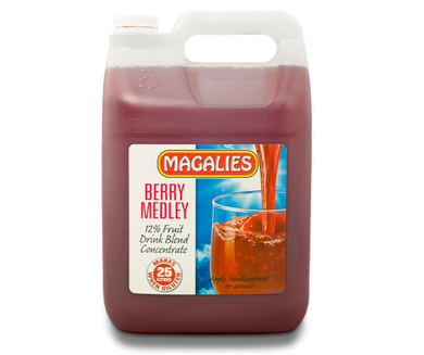 Magalies 5 litre Berry Medley 12% 1+4 fruit drink concentrate.
