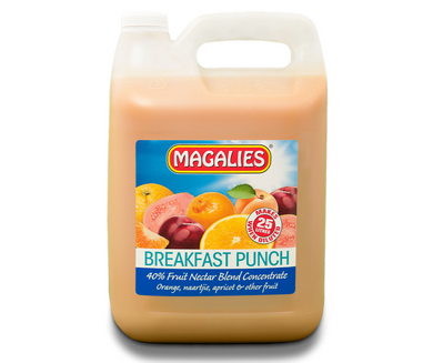 Magalies 5 litre Breakfast Punch 40% 1+4 fruit nectar concentrate.