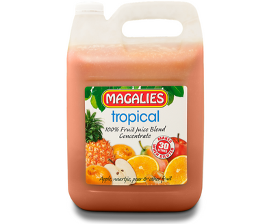 Magalies 5 litre Tropical Punch 100% 1+5 fruit juice concentrate.