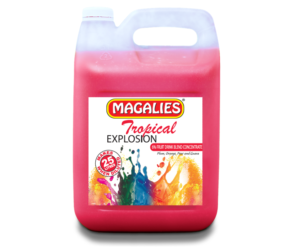 Magalies 5 litre Tropical Explosion 6% 1+4 fruit drink concentrate.