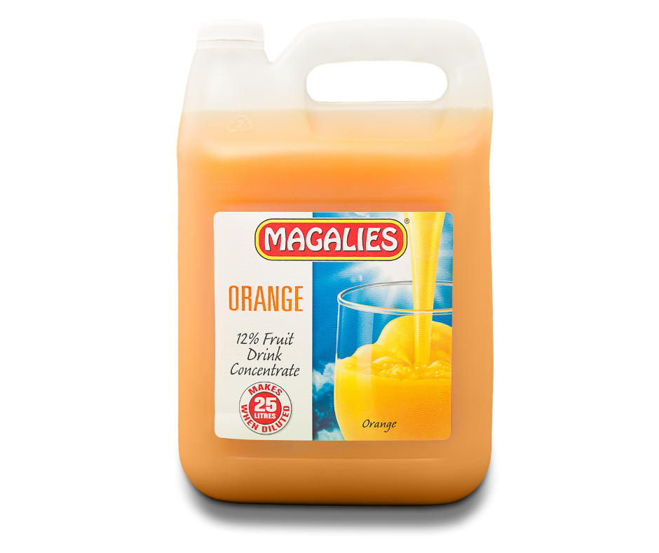 Magalies 5 litre Orange 12% 1+4 fruit drink concentrate.