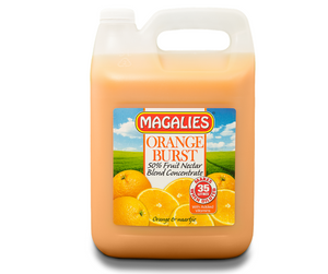 Magalies 5 litre Orange Burst 50% 1+6 fruit nectar concentrate.