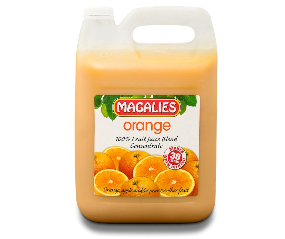 Magalies 5 litre Orange & Cells 100% 1+5 fruit juice concentrate.
