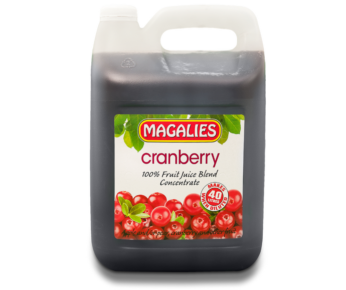Magalies 5 litre Cranberry 100% 1+7 fruit juice concentrate
