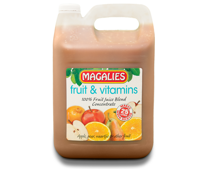 Magalies 5 litre Fruit & Vitamins 100% 1+4 fruit juice concentrate.