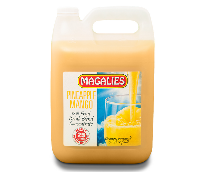 Magalies 5 litre Pineapple & Mango 12% 1+4 fruit drink concentrate