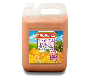 Magalies 5 litre Tropical Burst 40% 1+6 fruit nectar concentrate.