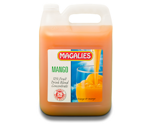 Magalies 5 litre Mango 12% 1+4 fruit drink concentrate.