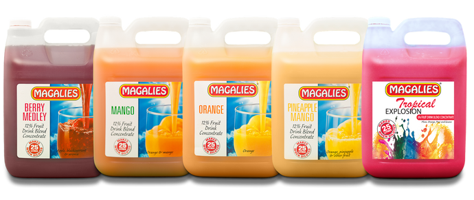 Magalies 5 litre fruit drink concentrate BUNDLE OF 5