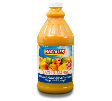 Magalies 2 litre Peach & Mango 40% 1+4 fruit nectar concentrate