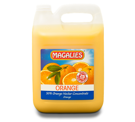 Magalies 5 litre Orange 50% 1+4 fruit nectar concentrate.