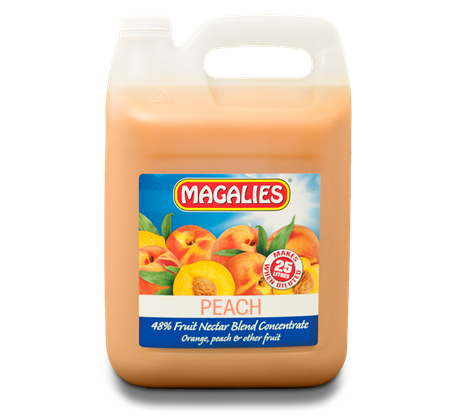 Magalies 5 litre Peach 48% 1+4 fruit nectar concentrate