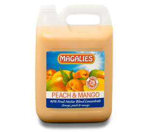Magalies 5 litre Peach & Mango 40% 1+4 fruit nectar concentrate