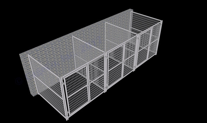 Rhino 3-Run Dog Kennel Indoor/Outdoor 6'W x 6'L x 6'H