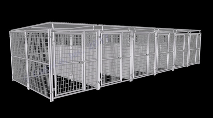 Rhino Kennels 6-Run Dog Kennel w/Roof Shelters & Fight Guard Divider - 5'x10'
