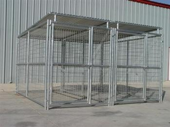 Rhino 2-Run Dog Kennel with Roof Shelters 5'x10' for German Shepherds