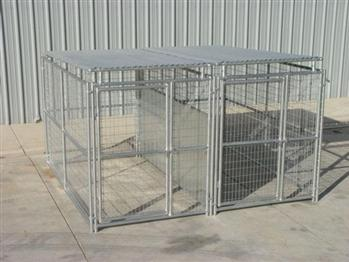 Rhino 2-Run Dog Kennel with Roof Shelters & Fight Guard Divider 5'x10'