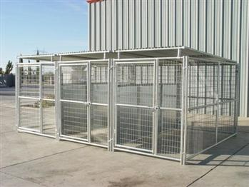 Rhino 3-Run Dog Kennel with Roof Shelters & Fight Guard Dividers 5'x10'
