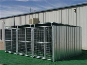 Rhino 3-Run Dog Kennel in Shed Row Style with Roof Shelters 5'x10'