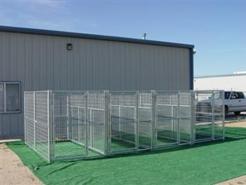 Rhino 4-Run Dog Kennel with Fight Guard Divider 5'x10'