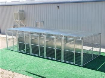 Rhino 5-Run Dog Kennel with Roof Shelters & Fight Guard Divider 5'x10'