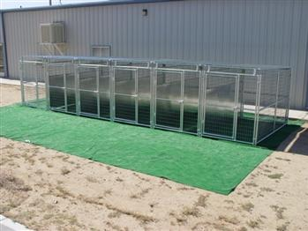 Rhino 6-Run Dog Kennel with Roof Shelters & Fight Guard Divider 5'x10' Commercial Runs