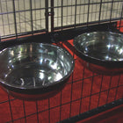 Lucky Dog Stainless Steel Double Fixed Position Food & Water Pet Bowls